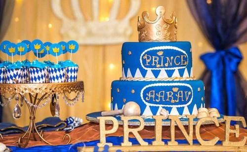 Royal Blue and Gold Prince Theme Cake, Boy Prince Birthday Cake