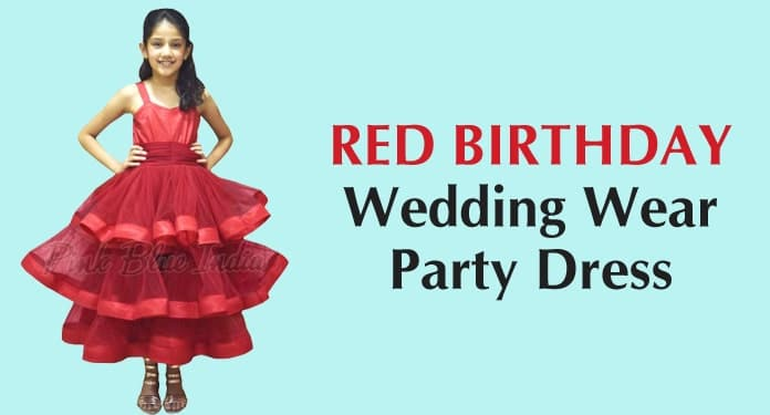 6th Birthday Gown, Red Wedding Wear Party Dress