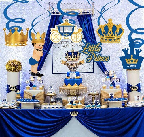 Royal Blue and Gold Prince Theme Baby Shower