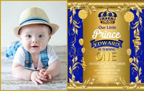 Royal Prince Birthday Party Theme Invitation Card