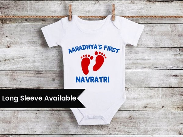 Baby Boy Girl Personalised Navratri Gifts, First Kanjak Onesie