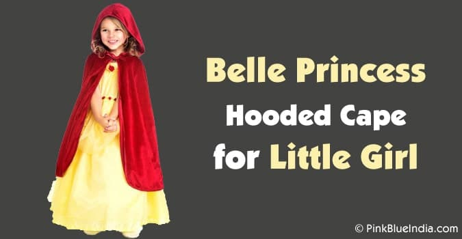 Little Girl Belle Princess Hooded Cape, Red Princess Cloak with Hood