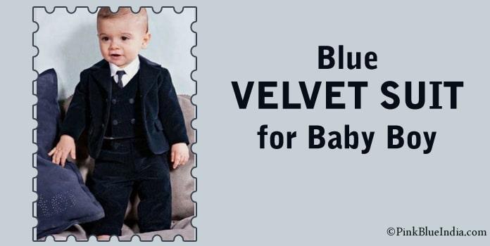Party Wear Velvet Suit, Blue Baby Boy Suit