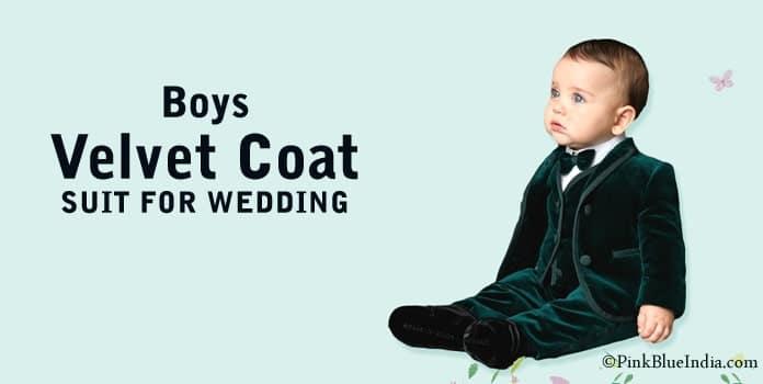 Boys Velvet Coat Suit, Wedding Blazer Suit India