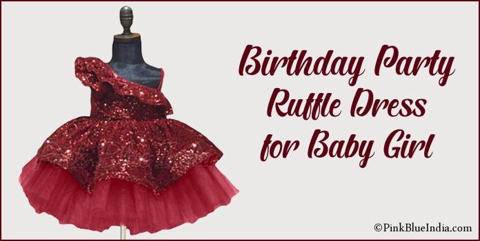 Birthday Ruffle Dress, Party Ruffle Dress for Baby Girl