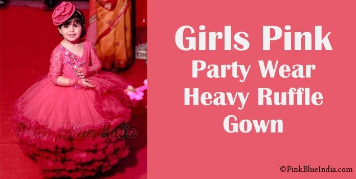 Girls Pink Ruffle Gown Wedding, Birthday Party Ruffle Dress
