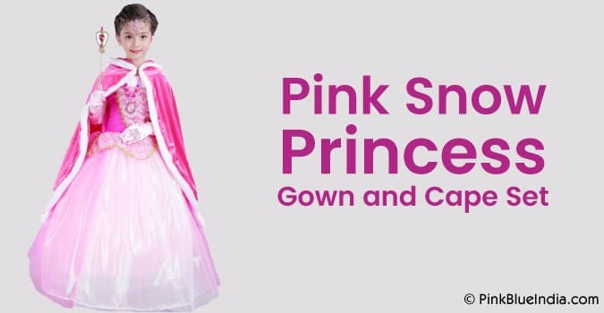 Pink Snow Princess Gown and Hooded Cape Costume Set