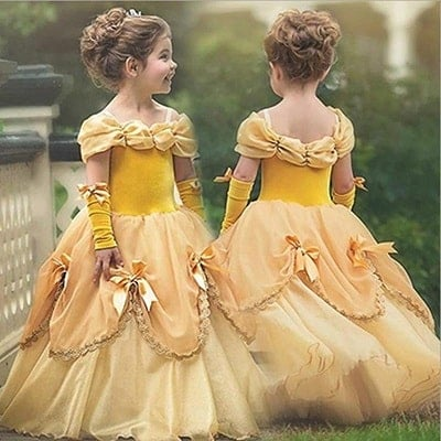 Princess Belle Costume Party Fancy Dress Up for Girls