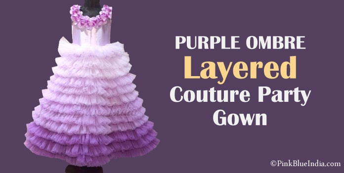 Kids Ombre Layered Couture Party Gown, Girls Ruffle Dress
