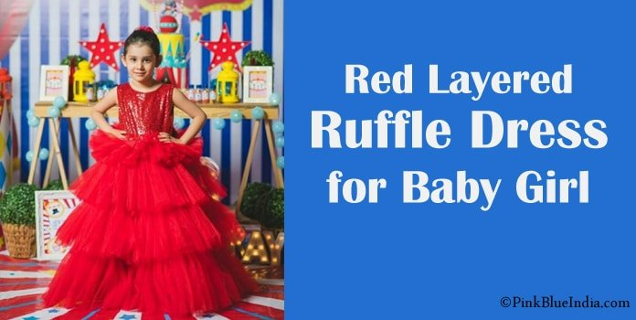 Red Layered Ruffle Dress for Toddler to Baby Girl