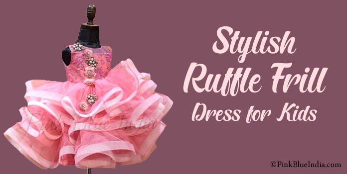 Ruffle frill Dress for Kids Girl, Ruffle Frock Online India