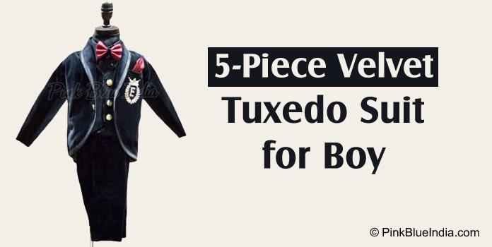 5-Piece Velvet Tuxedo Suit for Teenage Boy
