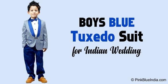 Boys Blue Tuxedo Suit for Wedding, Birthday ring bearer suit