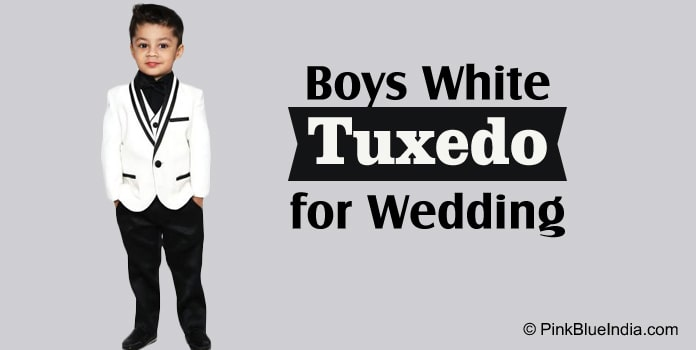 Boys Tuxedo Suit for Wedding, Kids White Tuxedo