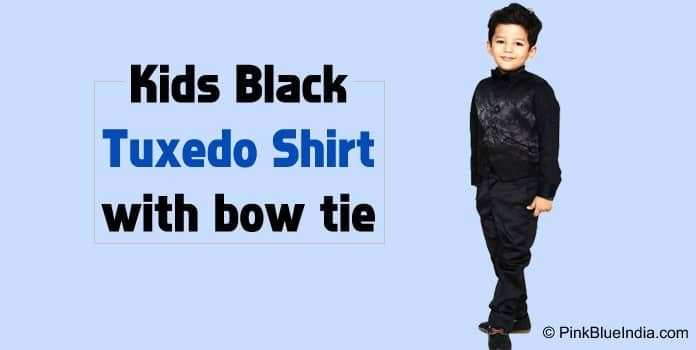Kids Black Tuxedo with Vest, Shirt, and Bow Tie