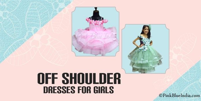 Girls Off Shoulder Party Wear Dresses, Kids Off Shoulder gown
