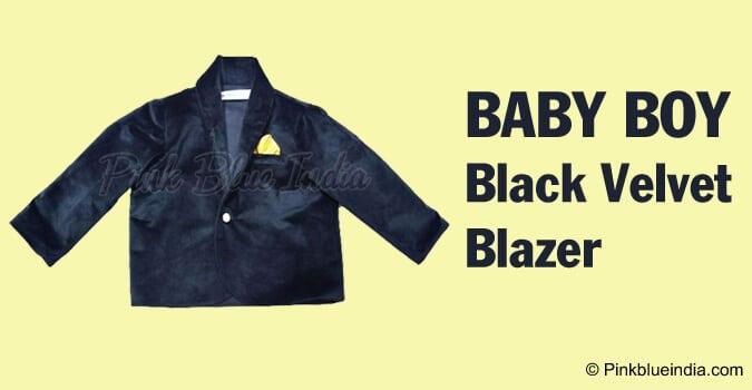 Baby Boy Black Velvet Blazer, Velvet Jacket Online India