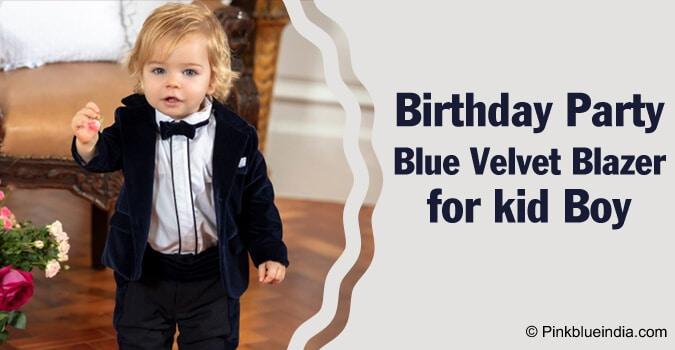 Birthday Party Blue Velvet Blazer Jacket for kid Boy