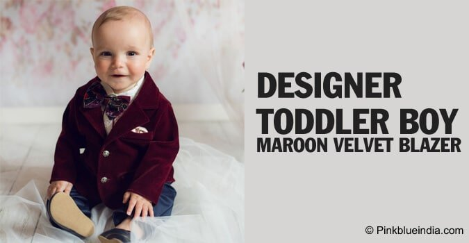 Designer Toddler Boy Maroon Velvet Blazer Coat