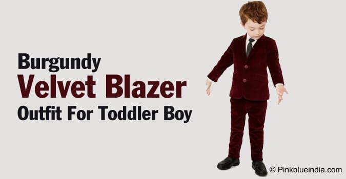 Burgundy Velvet Blazer Outfit Toddler Boy and Kids