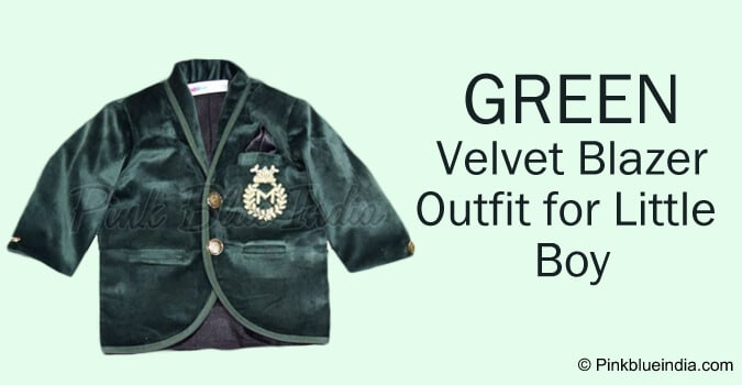 Party Wear Green Velvet Blazer Outfit for Little Boy