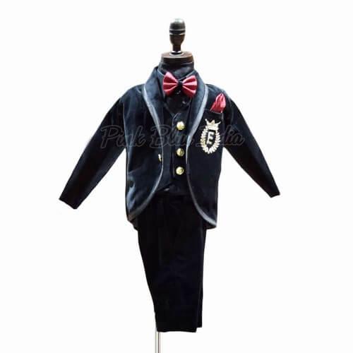 Black Velvet Tuxedo Formal Suit for kid Boy