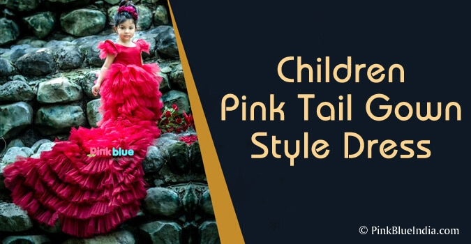 Children Pink Tail Gown Style Dress