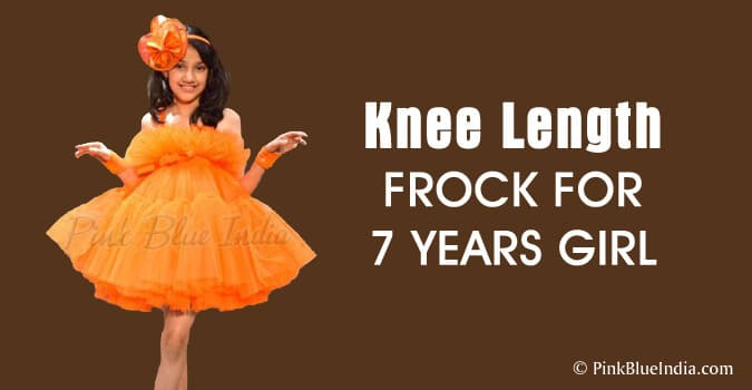 Knee Length Frock for 7 years Girl