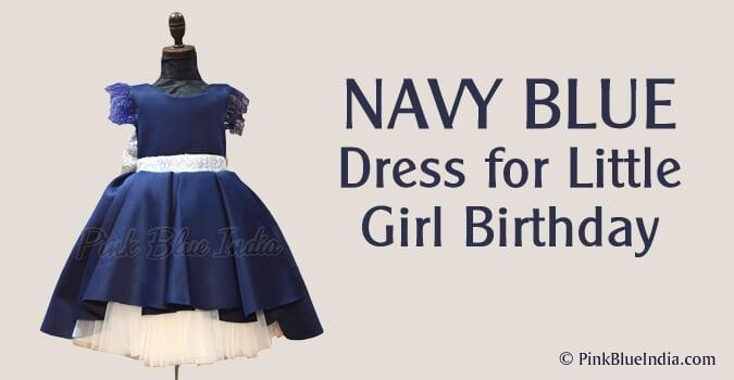 Navy Blue Dress for Little Girl Birthday Party