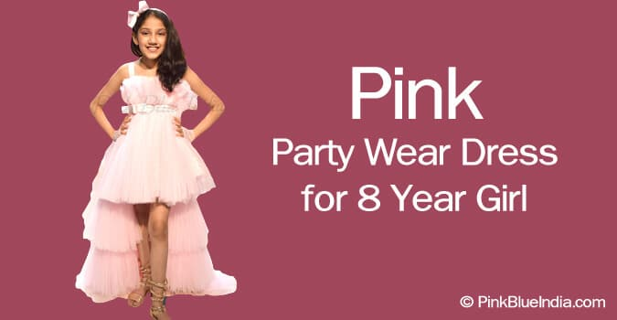8 Year Girl Pink Party Wear Dress for kids