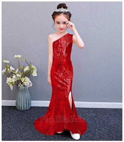 Girls Red One Shoulder Sequin Dress