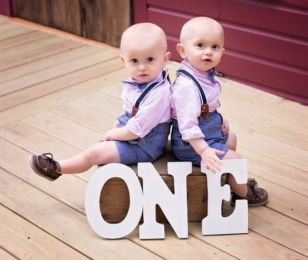 Twin Matching Outfits for First Birthday