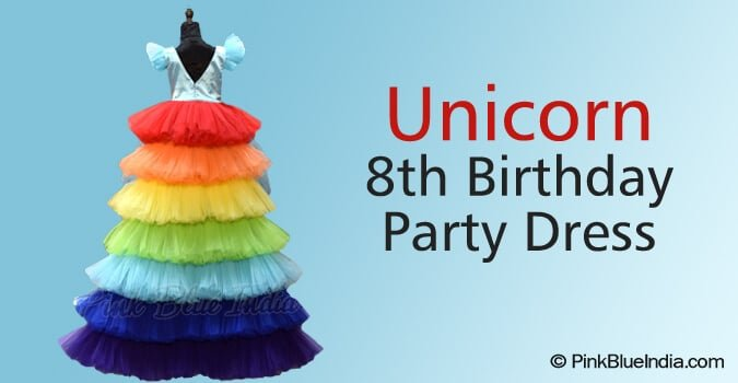Unicorn 8th Birthday Party Dress for Baby Girl