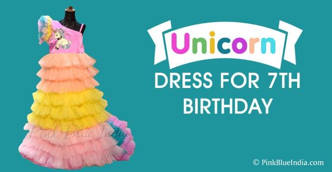 7th Birthday Unicorn Dress, Unicorn Gown