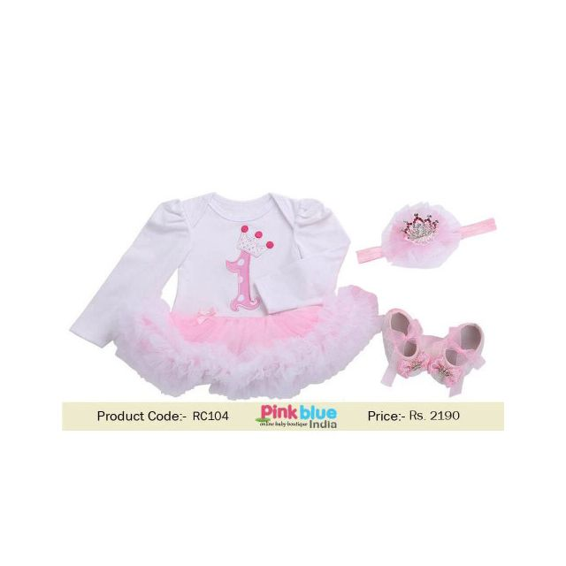 Baby Girl 1st Birthday Princess Long Sleeve Crown Romper Outfit India