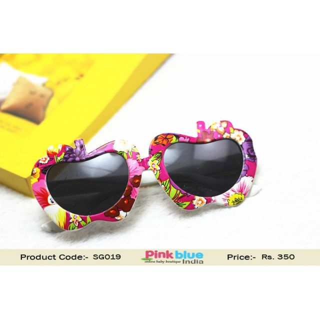 Pink and Purple Apple Frame Fancy Baby Glasses Sunglasses India