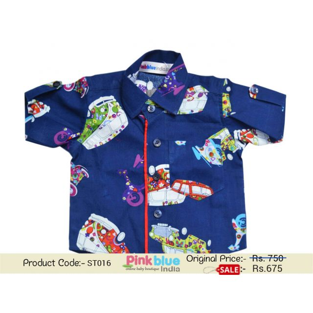 Smart Blue Colorful Cotton Printed Infant Shirt India