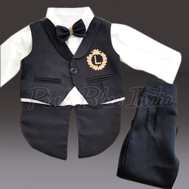 Boys Tailcoat Formal Suit - Black Baby Boy Dress Suit – Birthday Outfit