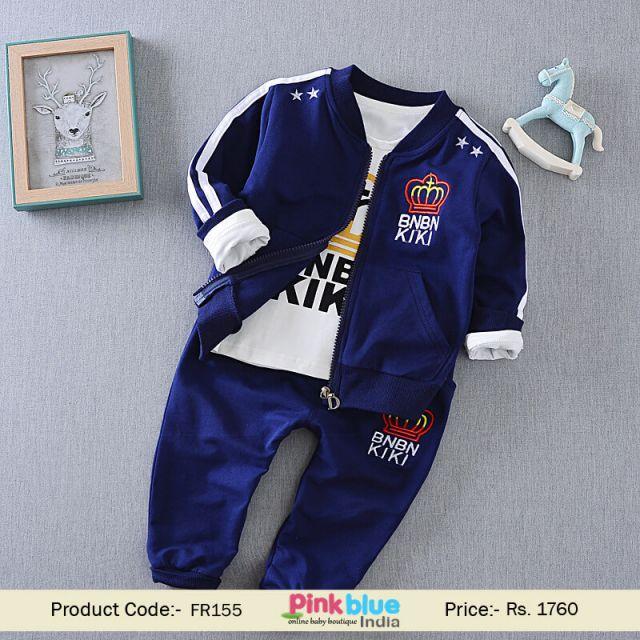 Blue Kids Designer Tracksuit - Baby Boy Clothes Boutique India