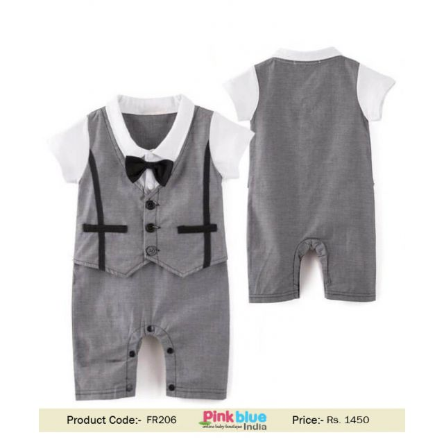 Baby Boy Formal Party Wedding Waistcoat Bow Tie outfit, 1PC Romper Suit