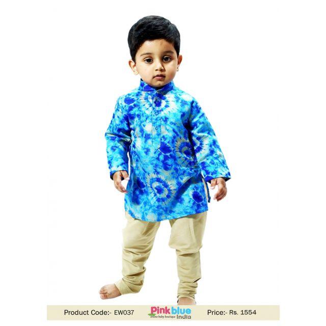 Kids Long Kurta Golden Churidar Pyjamas - Boy party wear dresses indian