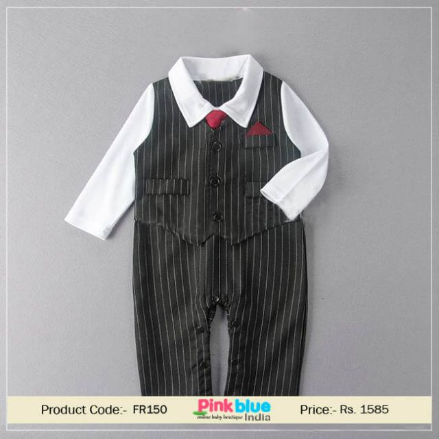 Black One Piece Formal Wedding Tuxedo Romper Outfit Suit Baby Boy