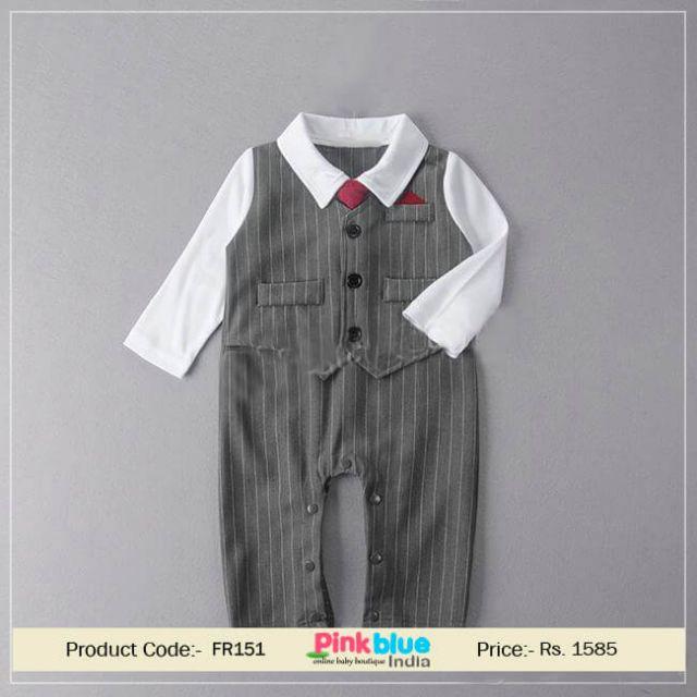 Little Baby Boy Bowtie Romper One-Piece Outfit, Wedding Party Tuxedo Suit
