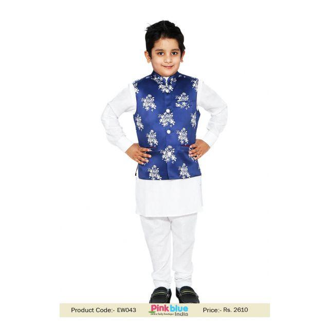 Baby Boy White Kurta Pajama, Blue Printed Jacket, kids ethnic wear