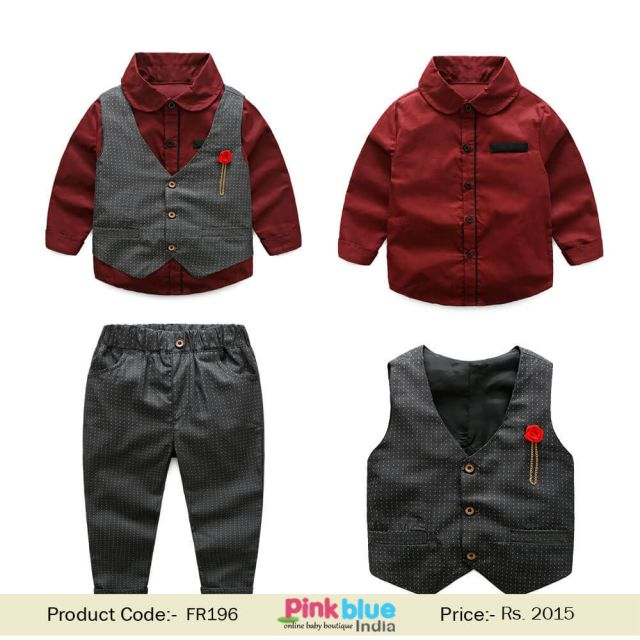 Boys Party Suit Baby Gentleman Brooch Waistcoat 3pcs Birthday Outfit