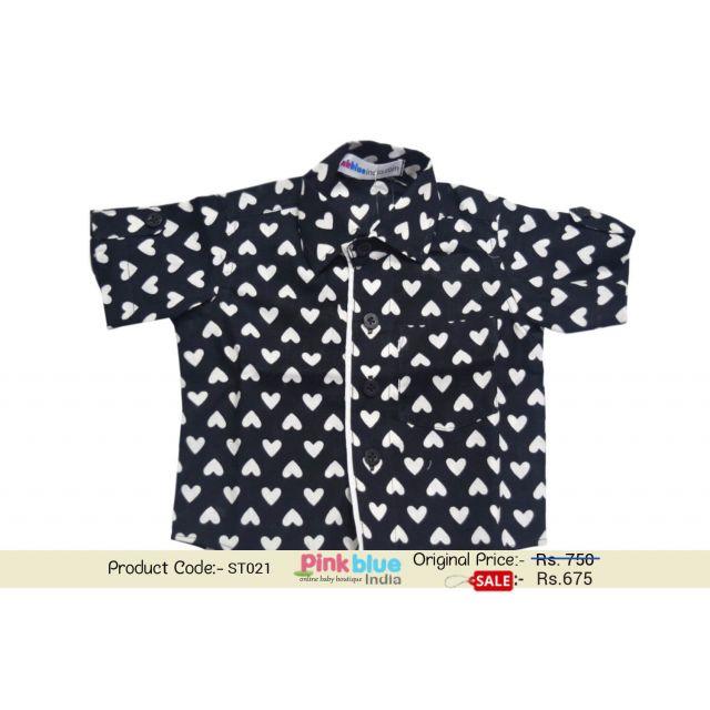Newborn Boy Black Short Sleeve Cotton Shirt with Hearts Print