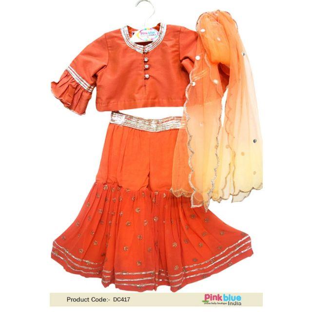 Buy kids Crop Top style Lehenga with dupatta, Children Ethnic Party Wear Dress online