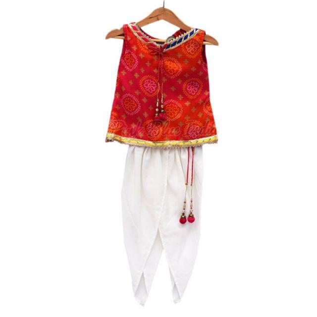 Baby Girl dhoti pant with Jaipuri Bandhej Top, Designer Girls Ethnic Wear