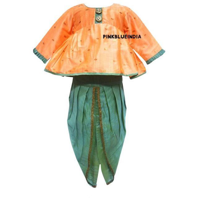 Baby Girl Dhoti Style Dress with Top, Kid Dhoti Kurta Set India