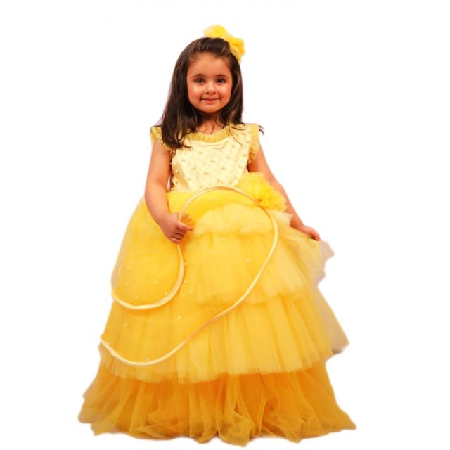Baby Girl Party Wear Yellow Gowns - Kids Yellow Dress Online